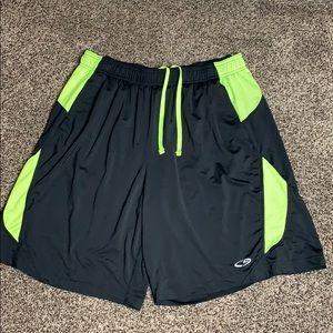 Champion Men's Black/Neon Yellow Athletic Shorts